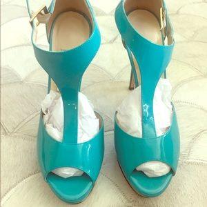 Jimmy Choo Turquoise Patent T-Strap Platform Heels